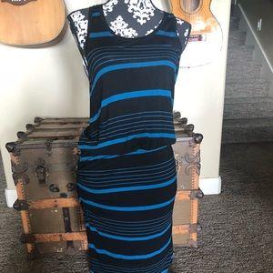 Halogen Blue Black Striped Racerback Tank Dress Sm